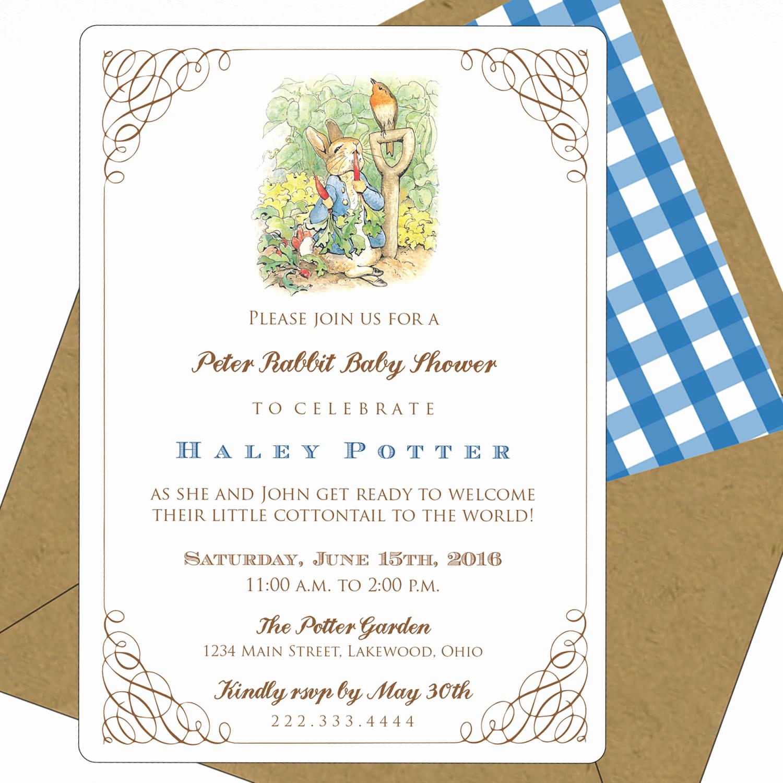 Peter Rabbit Baby Shower Invitation New Peter Rabbit Baby Shower Invitations by Bbinvitations On Etsy