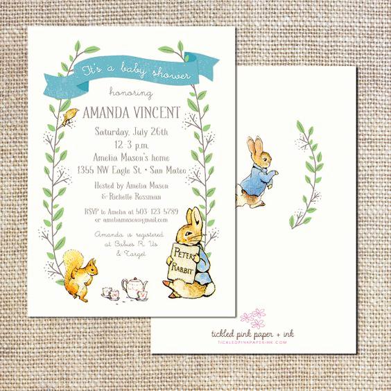 Peter Rabbit Baby Shower Invitation Unique Peter Rabbit Baby Shower or First Birthday Invitation