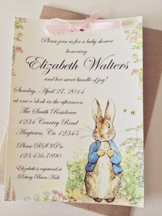 Peter Rabbit Baby Shower Invitation Unique Peter Rabbit Beatrix Potter Baby Shower or by Smashcakeparty