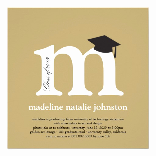 Phd Graduation Invitation Wording Awesome Monogram Alphabet Graduate Graduation Party 5 25x5