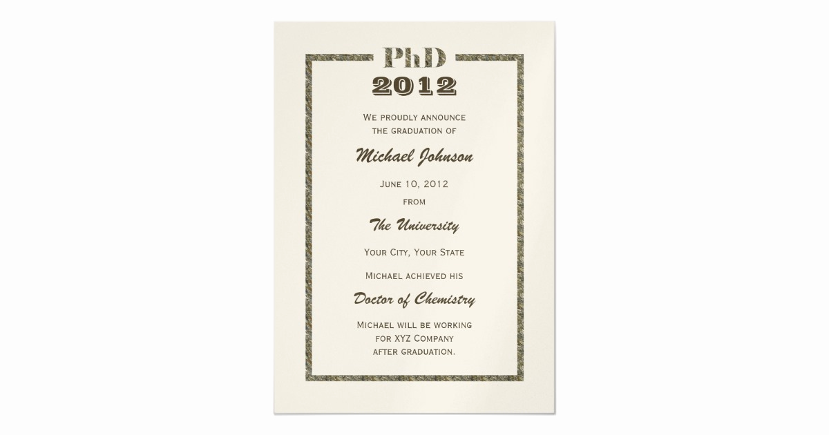 Phd Graduation Invitation Wording Awesome Phd Doctoral Graduation Announcement Metallic