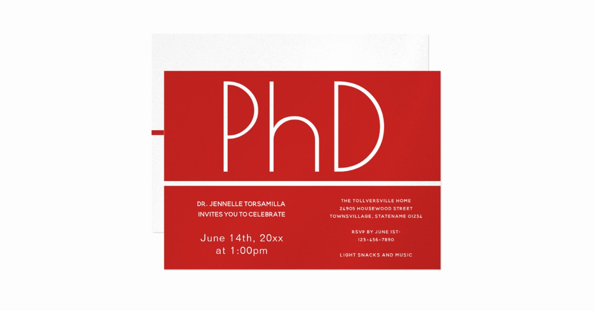 Phd Graduation Invitation Wording Luxury Phd Degree Graduation Party Invitation