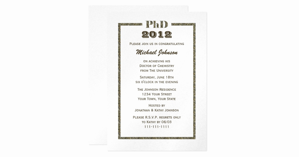 Phd Graduation Invitation Wording New Phd Doctorate Graduation Invitation Metallic
