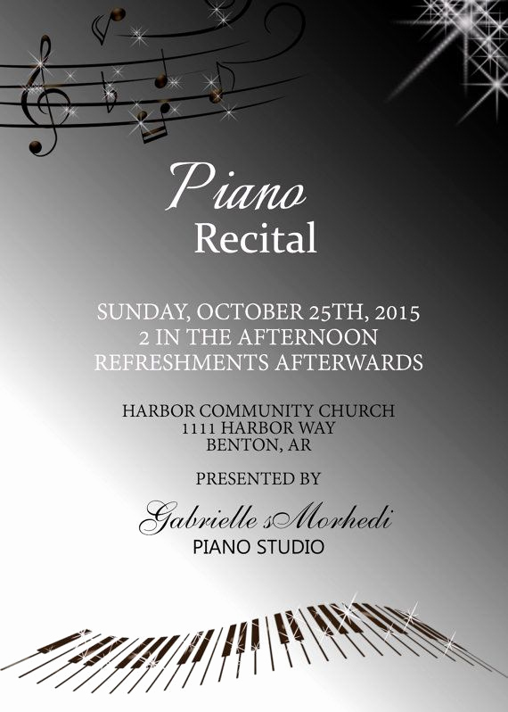 Piano Recital Invitation Template Free Awesome 17 Best Images About Piano Recital Invitations On
