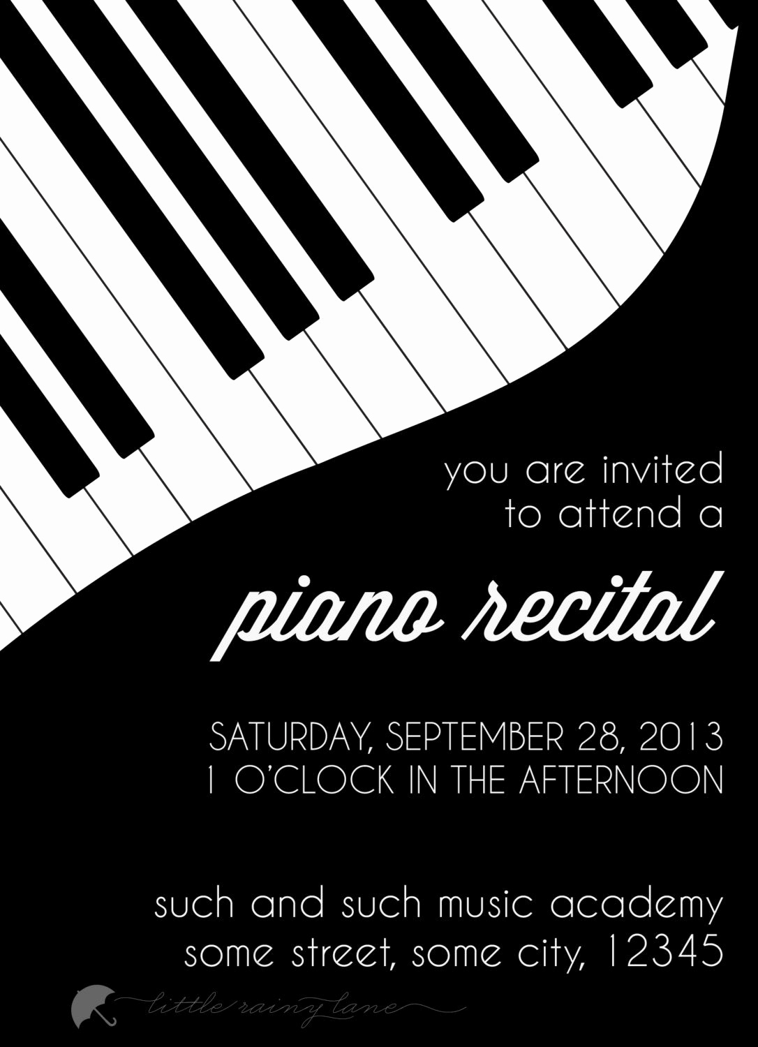 Piano Recital Invitation Template Free Awesome Piano Recital Invitation Custom