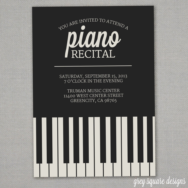 Piano Recital Invitation Template Free Awesome Piano Recital Invitation