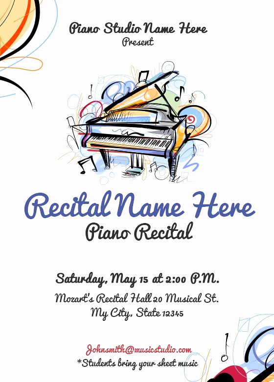 Piano Recital Invitation Template Free Beautiful 26 Best Piano Recital Invitations Images On Pinterest