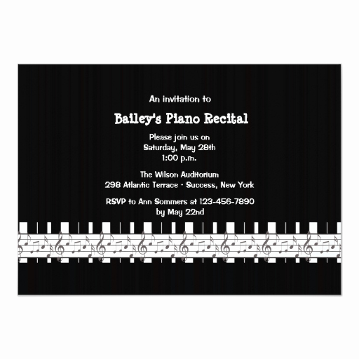 Piano Recital Invitation Template Free Beautiful Musically Inclined Piano Recital Invitation