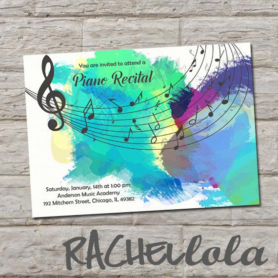 Piano Recital Invitation Template Free Elegant Music Recital Invitation Do It Yourself Digital Print