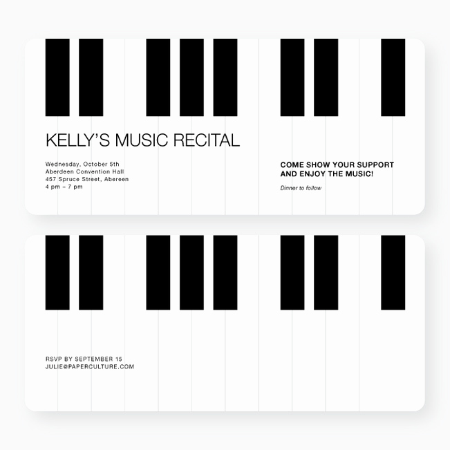 Piano Recital Invitation Template Free Elegant Piano Recital and Performance Invitations
