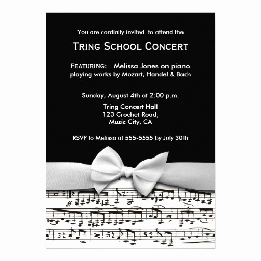 Piano Recital Invitation Template Free Fresh Black and White Stylish Music Recital Invitation