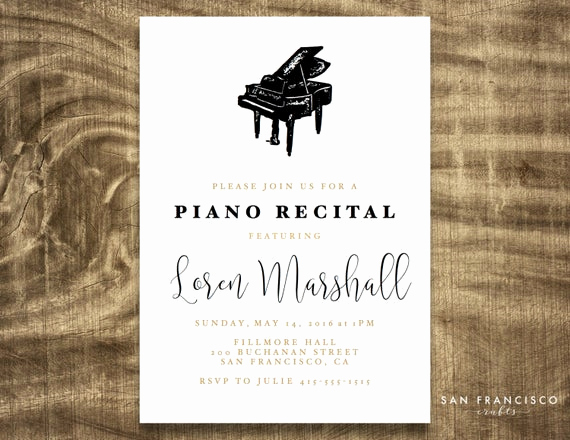 Piano Recital Invitation Template Free Fresh Piano Recital Invitation Printable Recital by