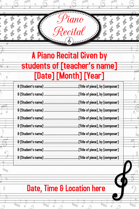 Piano Recital Invitation Template Free Fresh Piano Recital Music Concert Flyer Poster Invitation