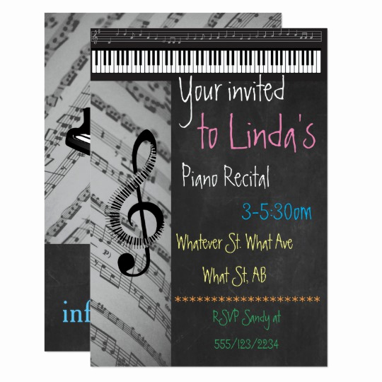 Piano Recital Invitation Template Free Fresh Piano Recital On Chalkboard Invitations