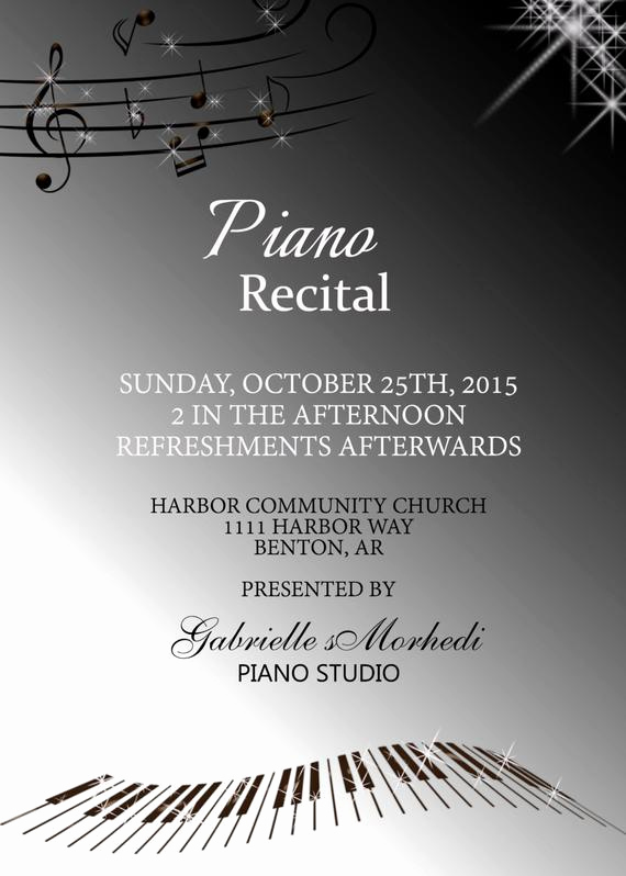 Piano Recital Invitation Template Free Lovely Piano Recital Invitations Recital Invitation Music Recital