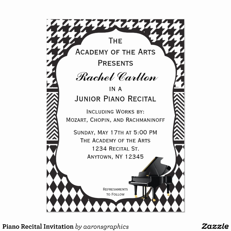 Piano Recital Invitation Template Free Luxury Piano Recital Invitation