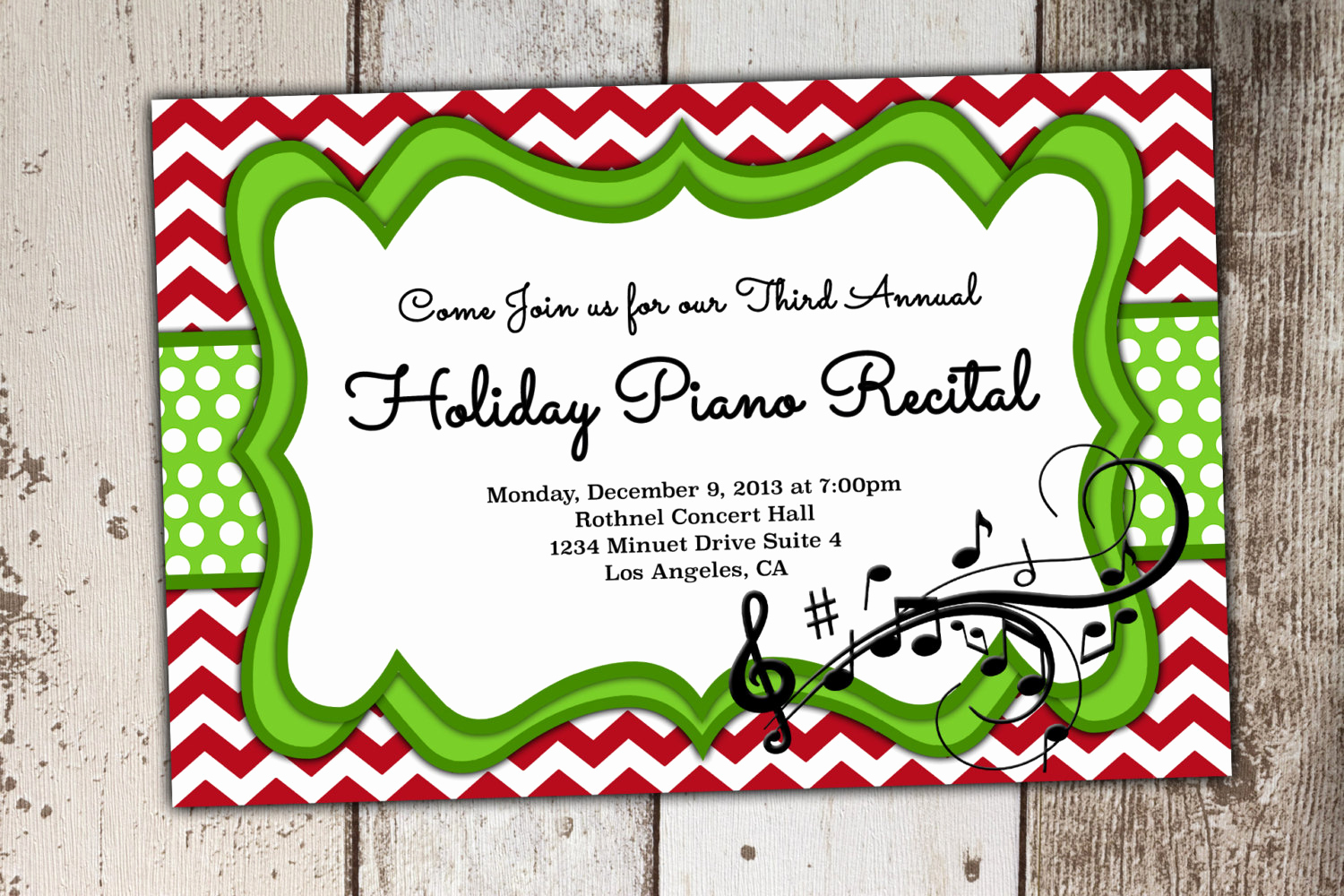 Piano Recital Invitation Template Free New Christmas or Holiday Piano Recital Invitation Can Be Other
