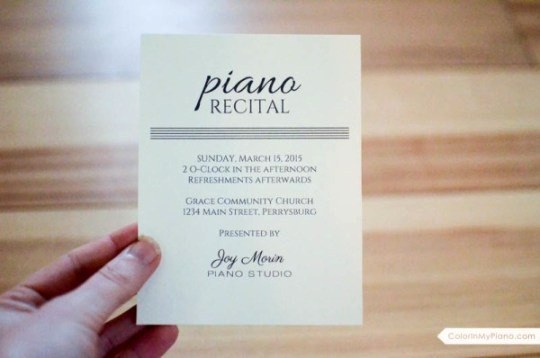 Piano Recital Invitation Template Free Unique Recital Invitation & Program Template Color In My Piano
