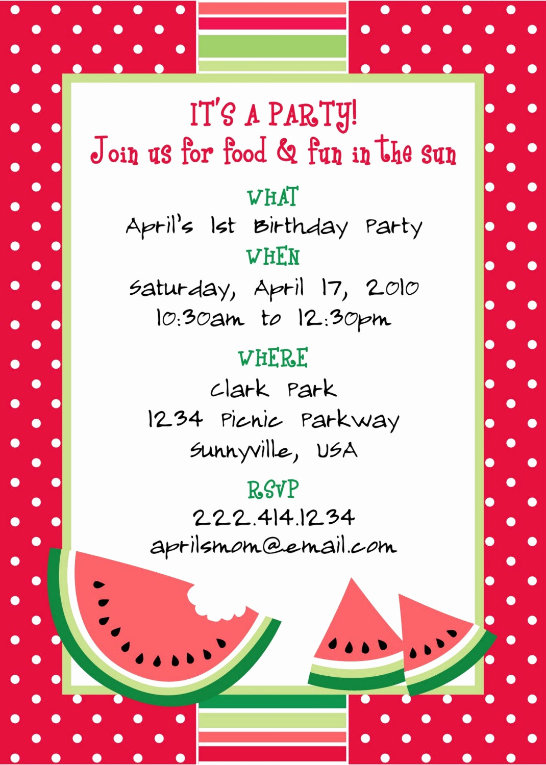Picnic Invitation Templates Free Elegant Printable Watermelon themed Party Invitation