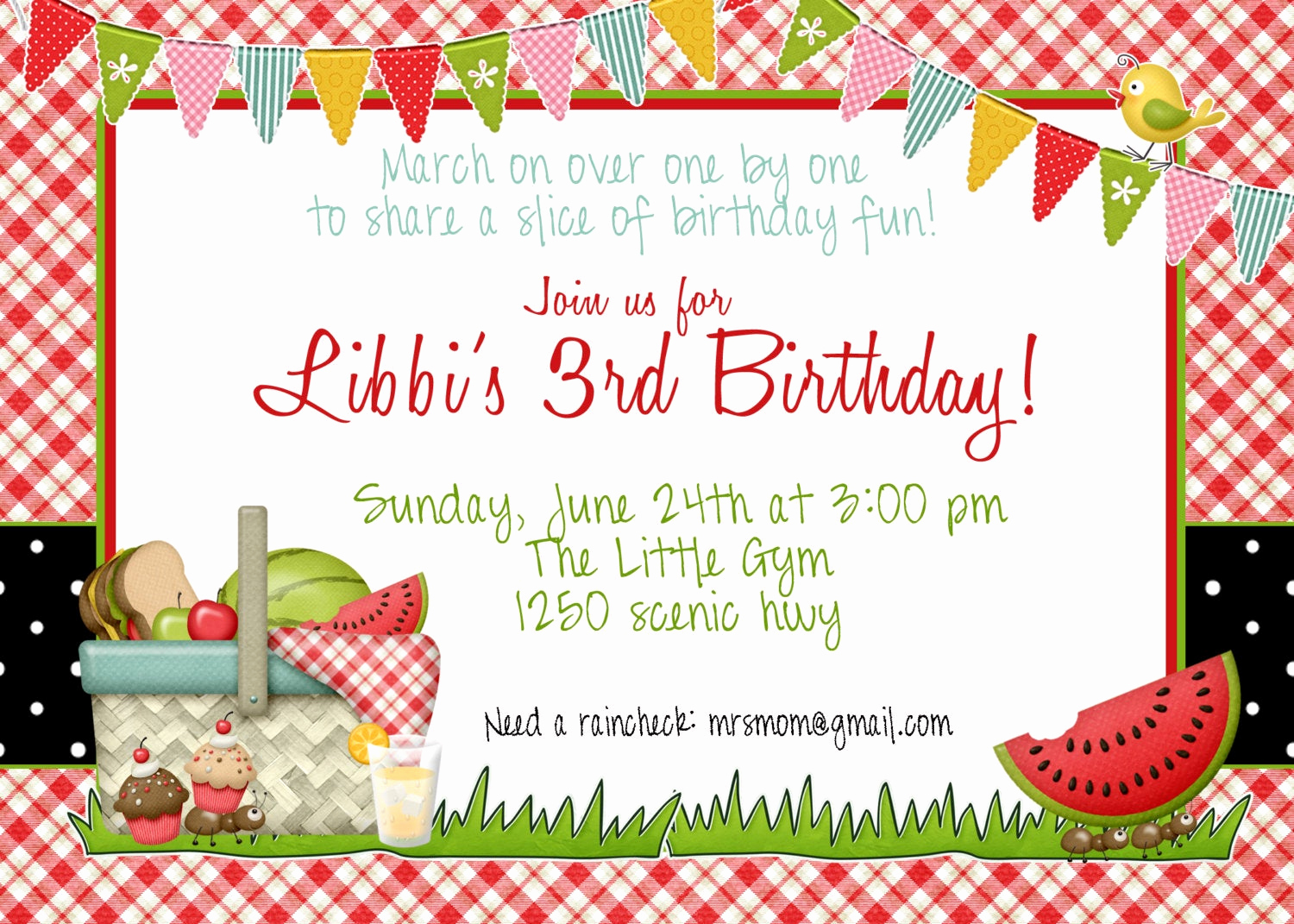 Picnic Invitation Templates Free Fresh Picnic Birthday Invitation by Greatgrabbiedesigns On Etsy