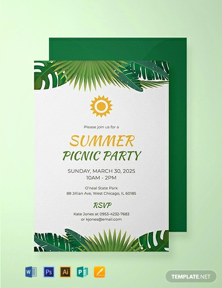 Picnic Invitation Templates Free Lovely Free Summer Picnic Party Invitation Template Download 884
