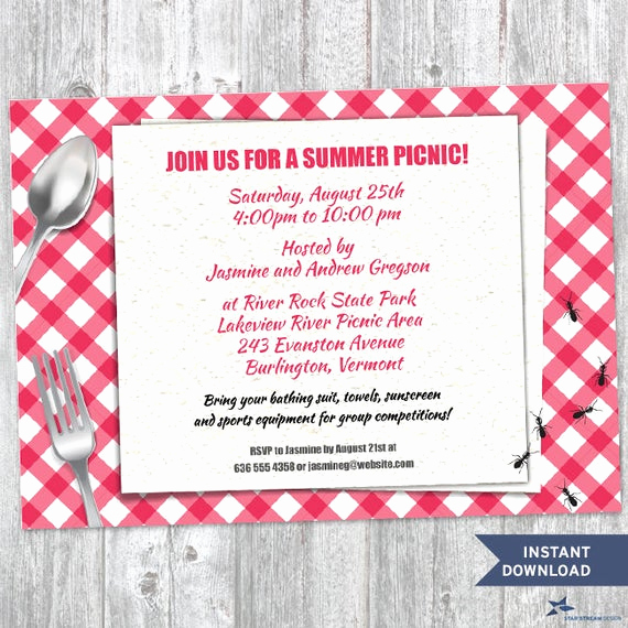 Picnic Invitation Templates Free Lovely Printable Red Gingham Summer Picnic with Ants Party Invitation
