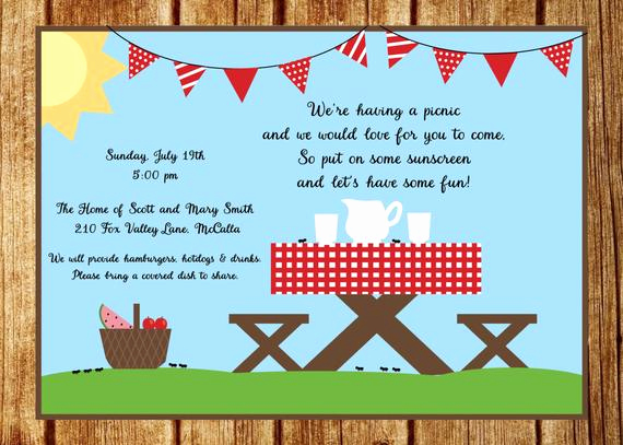 Picnic Invitation Templates Free Lovely Summer Picnic Invitation Summer Party Invitation Custom Park