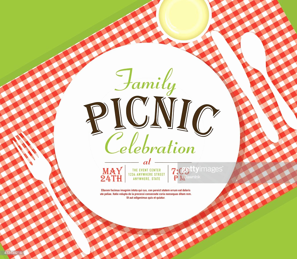 Picnic Invitation Templates Free New Picnic Invitation Design Template Angle Placesetting Stock