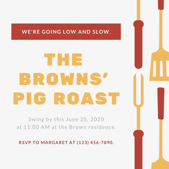 Pig Roast Invitation Template Free Awesome Customize 47 Pig Roast Invitation Templates Online Canva
