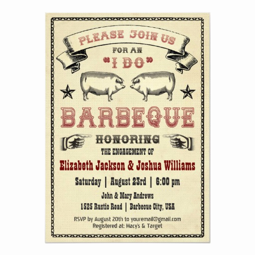 Pig Roast Invitation Template Free Awesome I Do Bbq Vintage Pig Roast Invitation
