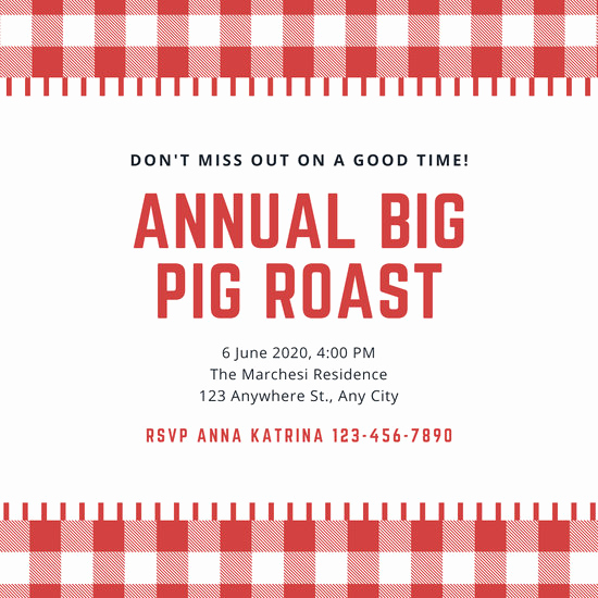 Pig Roast Invitation Template Free Beautiful Customize 46 Pig Roast Invitation Templates Online Canva