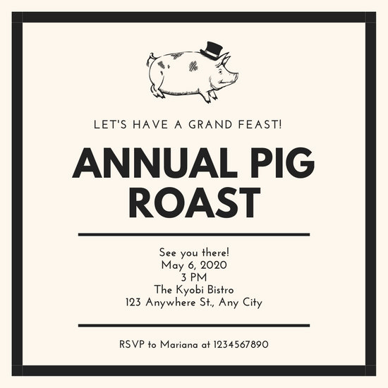 Pig Roast Invitation Template Free Best Of Customize 47 Pig Roast Invitation Templates Online Canva