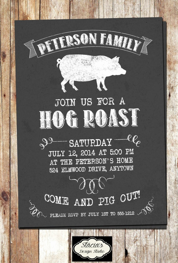 Pig Roast Invitation Template Free Best Of Customized Hog Roast or Pig Roast Printable by
