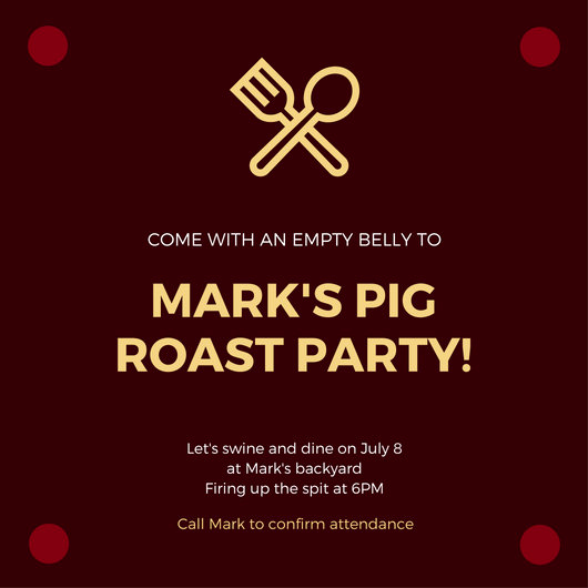 Pig Roast Invitation Template Free Best Of Party Invitation Templates Canva
