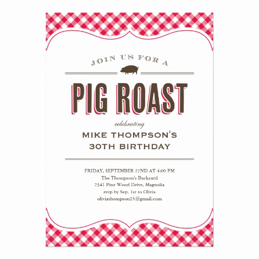 "Pig Roast Invitation Template Free Best Of Pig Roast Table Cloth Invitations 5"" X 7"" Invitation Card"
