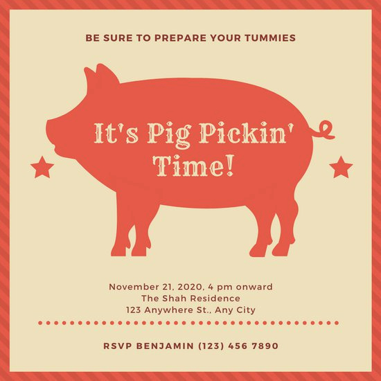 Pig Roast Invitation Template Free Fresh Customize 46 Pig Roast Invitation Templates Online Canva