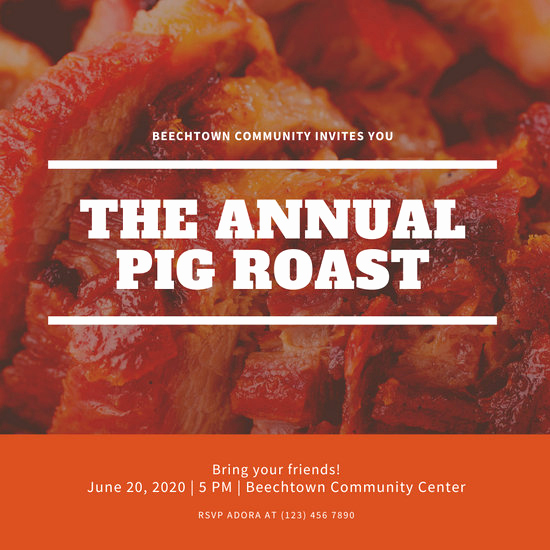 Pig Roast Invitation Template Free Inspirational Customize 47 Pig Roast Invitation Templates Online Canva