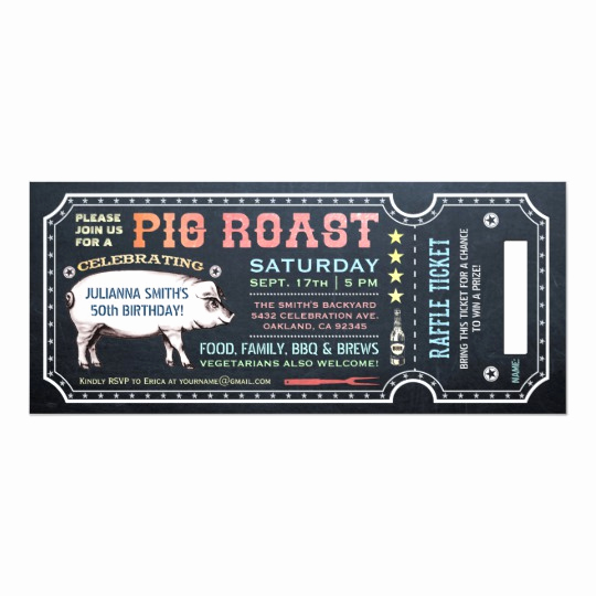 Pig Roast Invitation Template Free Lovely Pig Roast Ticket Invitations with Raffle Ticket V5