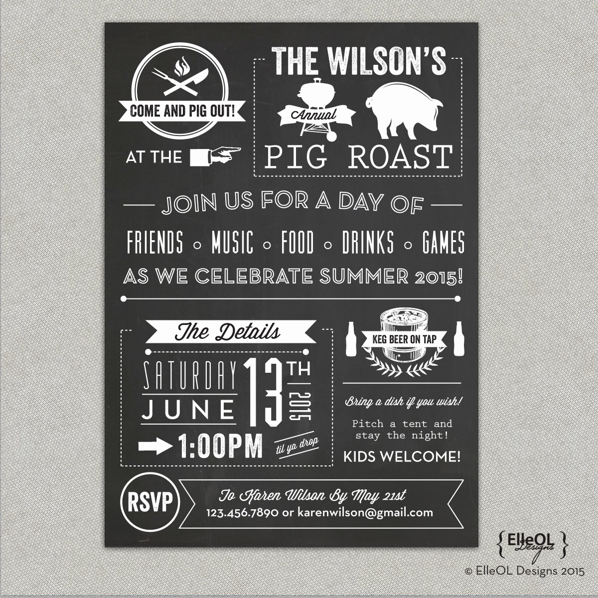 Pig Roast Invitation Template Free Luxury Chalkboard Pig Roast Party Invitation Birthday Summer