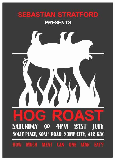 Pig Roast Invitation Template Free Luxury Hog Roast Party Invites Personalised Printed