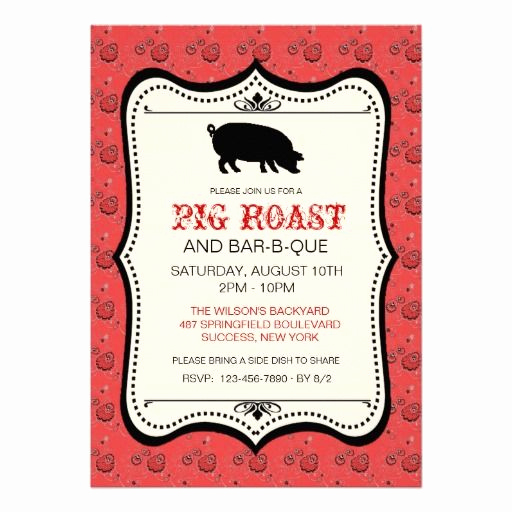 Pig Roast Invitation Template Free Luxury Red Bandana Bar B Que Invitation