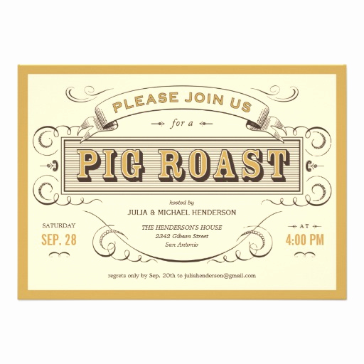 "Pig Roast Invitation Template Free Luxury Vintage Pig Roast Invitations 5"" X 7"" Invitation Card"