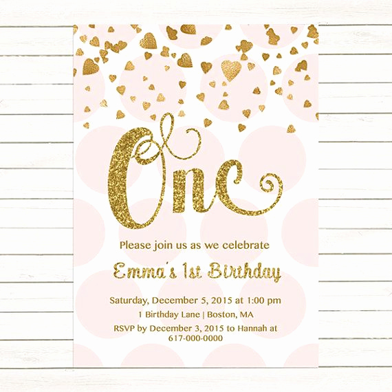 Pink and Gold Birthday Invitation Awesome Pink and Gold 1st Birthday Invitation Girl Any Age Pink
