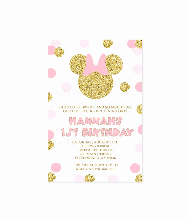Pink and Gold Birthday Invitation Awesome Pink and Gold Minnie Mouse Birthday Party Invitation 2 Gold