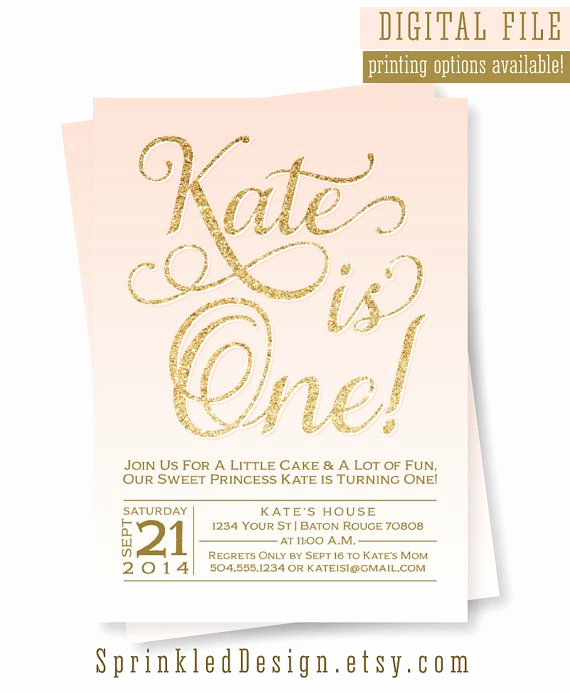 Pink and Gold Birthday Invitation Beautiful Gold Glitter Birthday Invitation Blush Pink Lavender