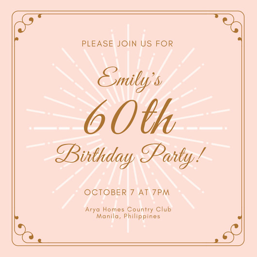 Pink and Gold Birthday Invitation Beautiful Pink Gold 60th Birthday Invitation Templates by Canva