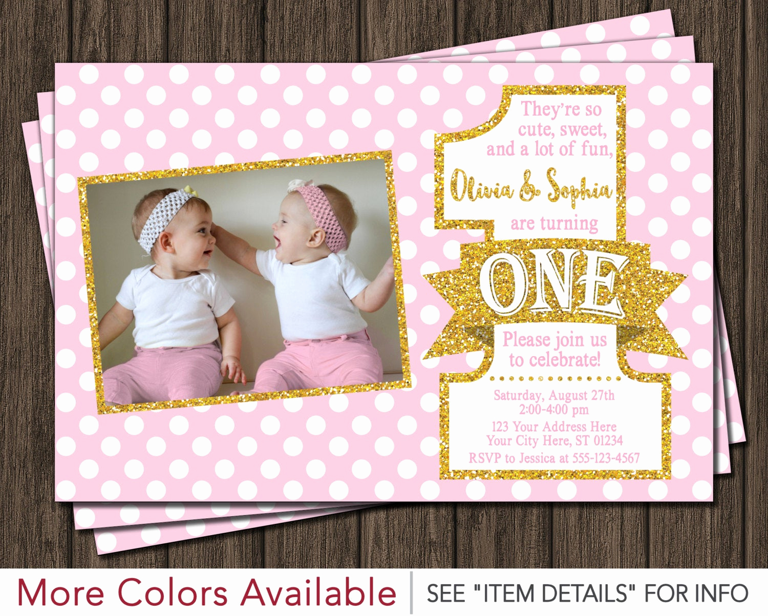 Pink and Gold Birthday Invitation Beautiful Twin Birthday Invitation Pink and Gold First Birthday