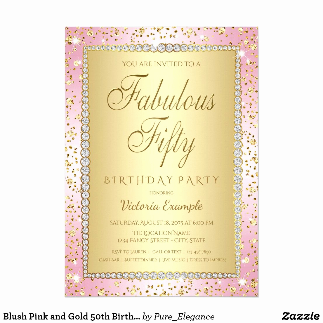 Pink and Gold Birthday Invitation Best Of Blush Pink and Gold 50th Birthday Party Invitation
