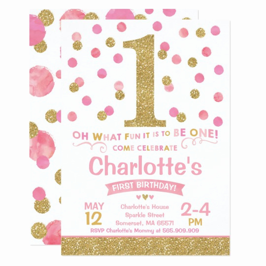 Pink and Gold Birthday Invitation Best Of Girl 1st Birthday Invitation Pink & Gold Confetti
