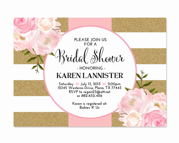 Pink and Gold Birthday Invitation Best Of Pink Gold Glitter Bridal Shower Invitation Stripes Floral Pink